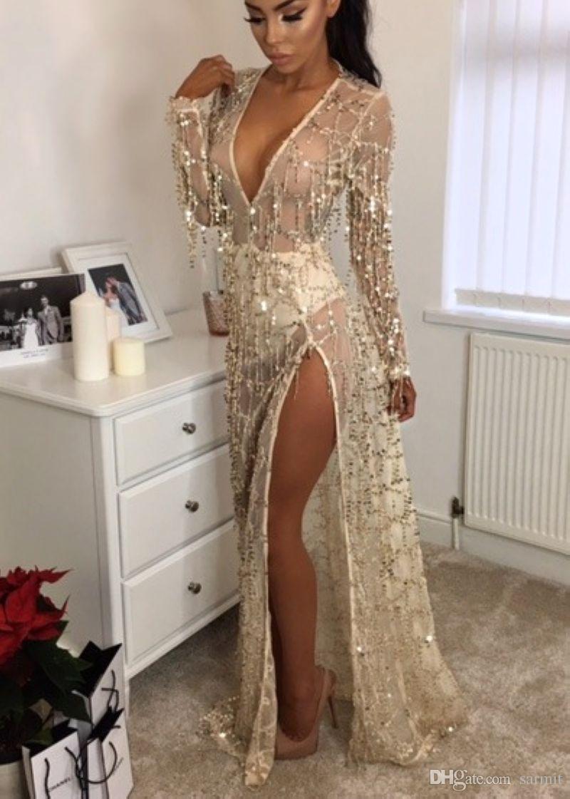 Сексуальное платье партии Женщины Runway Блестки кисточки See Through клуб платье вечера Maxi F0447 длинным рукавом Глубокий V шеи