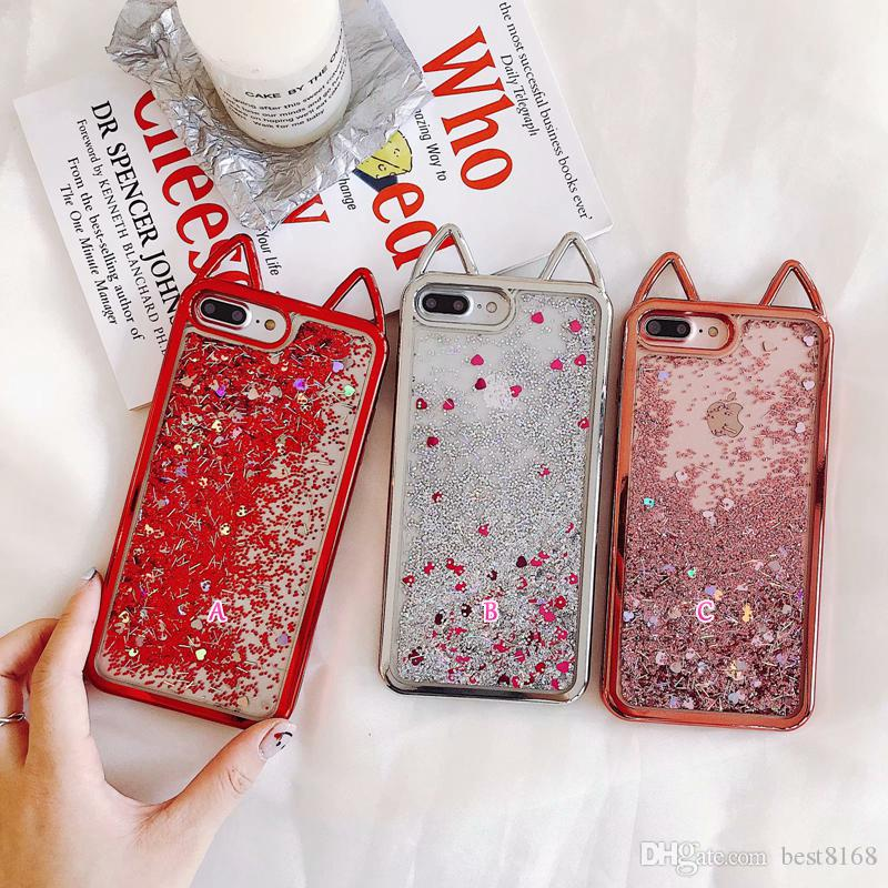 9d5f824b30 3D Cat Metallic Soft TPU Case For Iphone X 10 8 7 6 6S Liquid Quicksand  Chromed Bling Glitter Lovely Cute Silicone Ears Plating Luxury Cover  Waterproof Cell ...
