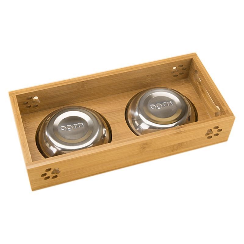perro de mascota tazón de fuente de acero inoxidable de bambú comida doble de agua perro de peluche alimentador cuenco del gato cuencos de comida para mascotas plato de alimentación de doble uso