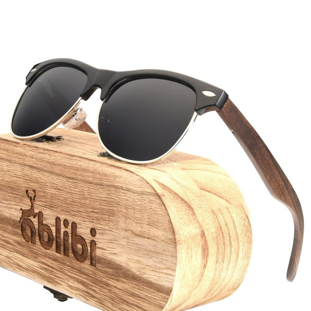63c68ff8308 Ablibi Wooden Vintage Sunglasses for Mens Women Half Frame Unisex ...