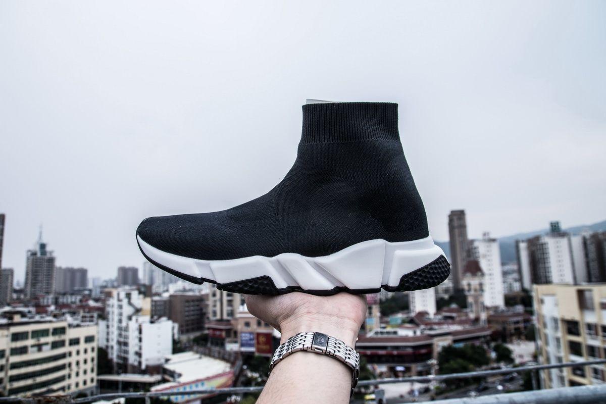 Sıcak Tasarımcı Hız Trainer Koşucu Çizmeler Çorap Streç-Örgü Yüksek Üst Trainer Ayakkabı Ucuz Sneaker Siyah Beyaz Kadın Adam Rahat ...