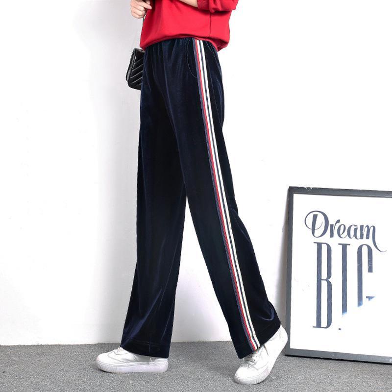 549e04da2 Compre Mulheres De Veludo Coreano Elástico Na Cintura Casual Solto Plus Size  Calças Longas De Pernas Largas 2018 Primavera Outono Moda Listrada Calças  De ...