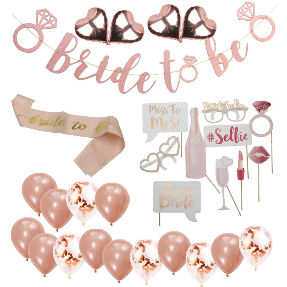 Rose Gold Bride To Be Set Team Bride Balloons Banner Photo