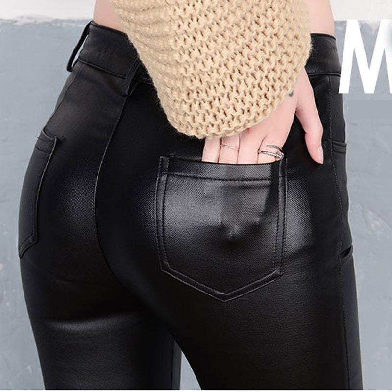 Nueva Moda Mujer PU Cuero Stretch Lápiz Pantalones 2017 Otoño Mujeres Largo Delgado Botón Pantalon Leggings Mujer Skinny Trousers