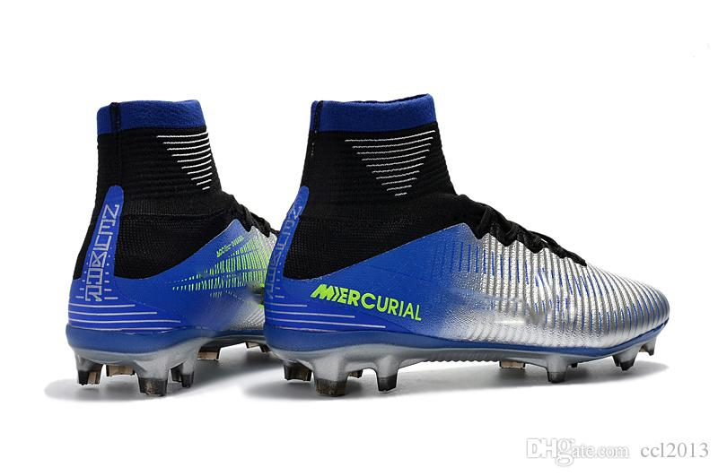 Chaussures de football blanches à arc-en-ciel 100% chaussures de football Mercurial Superfly V FG originales C C Ronaldo 7 crampons de football pour hommes