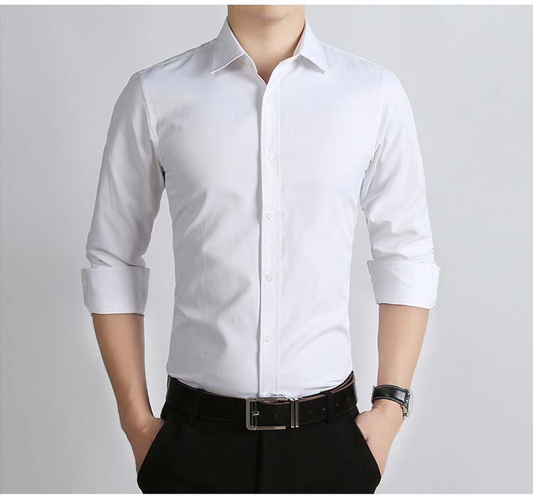 f1713757911a Acheter Chemises Sur Mesure Pour Hommes 100% Coton Chemise Formelle Blanc  Chemise À Manches Longues Pour Hommes Chemises Slim Fit Puls Plus Grande  Taille De ...