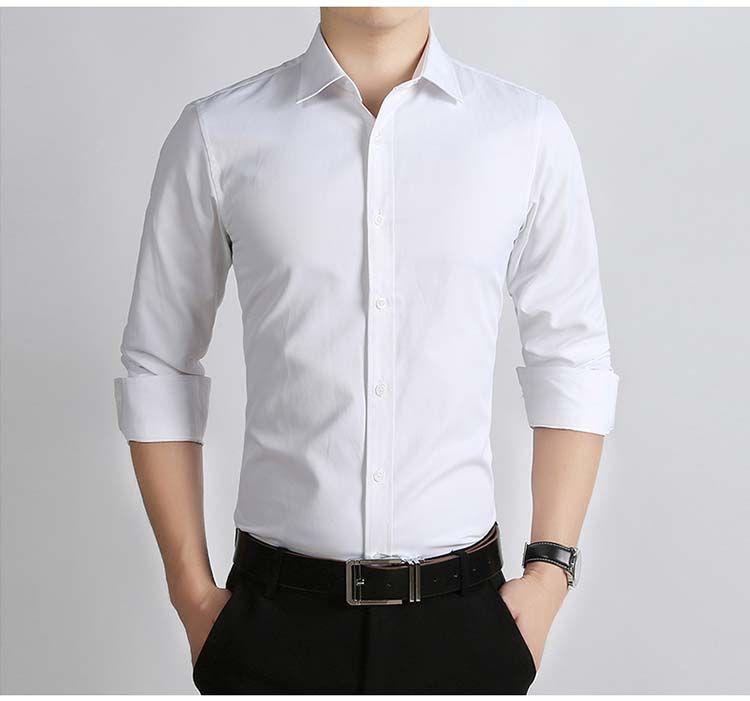 146334319a7a Custom made 100% cotton men's shirts Formal Shirt white Men Long Sleeve Men's  Shirt Slim Fit Shirts puls larger size