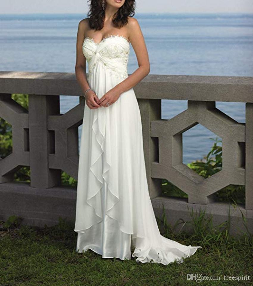 Discount Women S Chiffon Simple White Wedding Dresses For Bridal A Line  Lace Beach Wedding Dress Bride Boho Bohemian Style Bridal Gowns Custom  Wedding ... 10fd521011