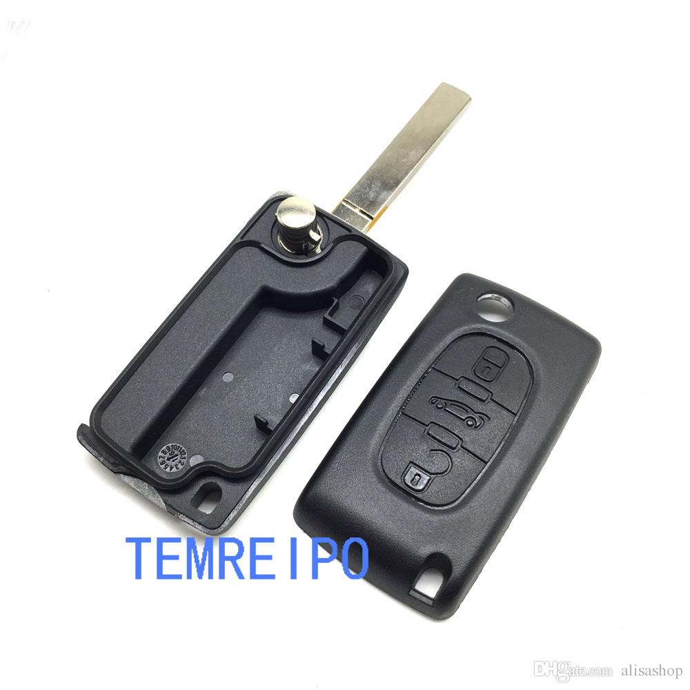 Replacement key shell for Peugeot car 207 307 407/ Citroen 3 buttons flip remote key blank fob Peugeot/Citroen remote key shell