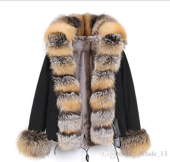 Clássico preto guarnição da pele Jazzevar marca preto fox e forro de pele de coelho camuflagem shell mini parka com raposa Placket pele das mulheres casacos quentes