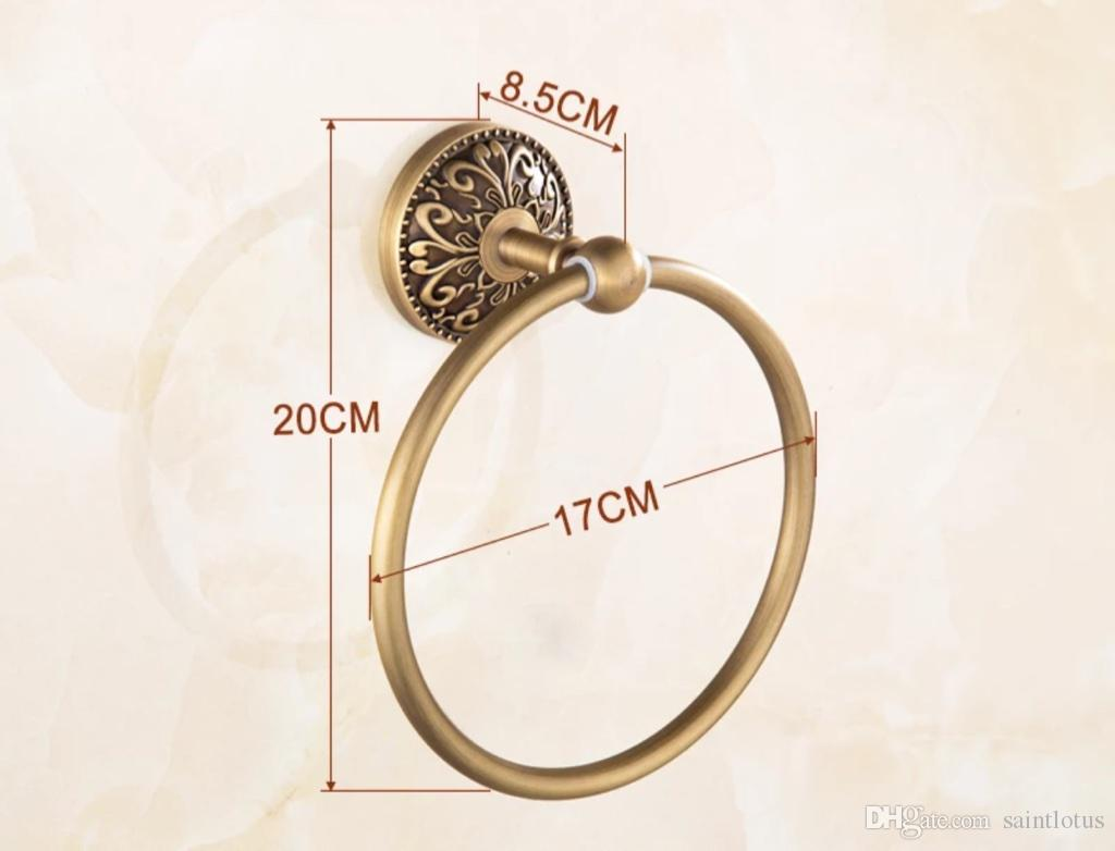 2018 carved bathroom towel rings antique gold copper finished facial towel /hand towel racks wall mounted bronze bathroom hardware