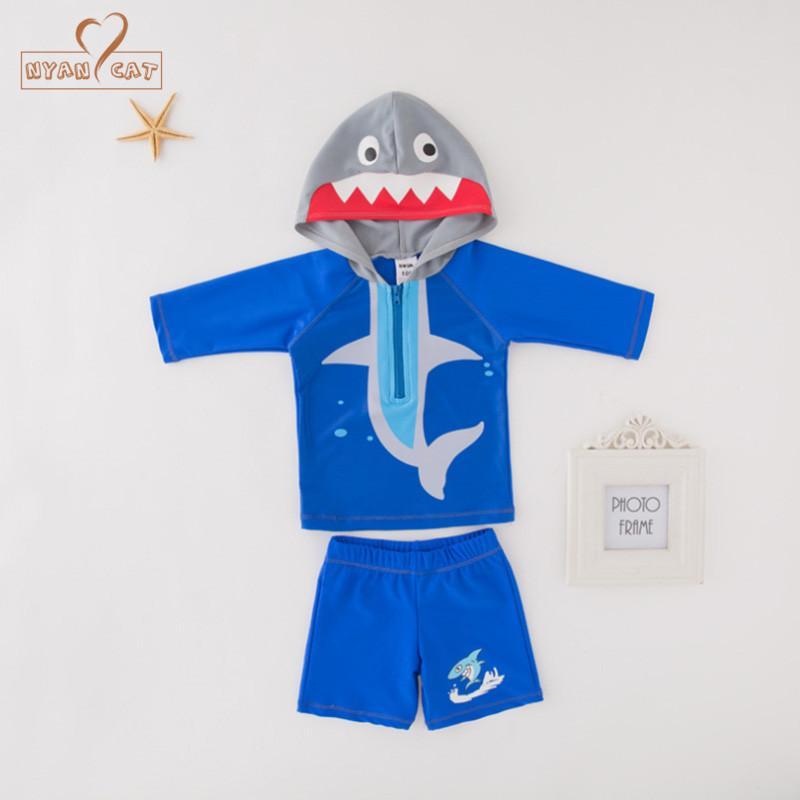 ebd6d5e565 Nyan Cat summer baby boy shark sea animal hooded top+shorts 2pcs set  swimming suit infant toddler kids children swimwear