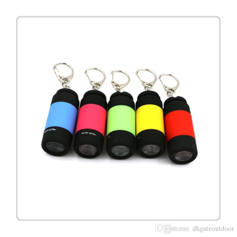 Mini Fenerleri Torch Işık Anahtarlık USB Şarj Edilebilir Cep Mini Torch Ultra Parlak Işık Lambası Ev Için Hediyeler Renkli