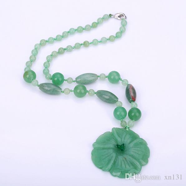 Women's Pendant Necklace Charm Aventurine Jade Handmade Carved Jewelry Fashion Crystal Beads Chain Gifts