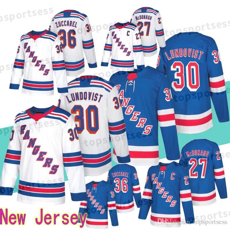 newest 88793 f235d 30 Henrik Lundqvist Jersey New York Rangers 36 Mats Zuccarello 27 Ryan  McDonagh Hockey Wear Hockey Jerseys Stiched