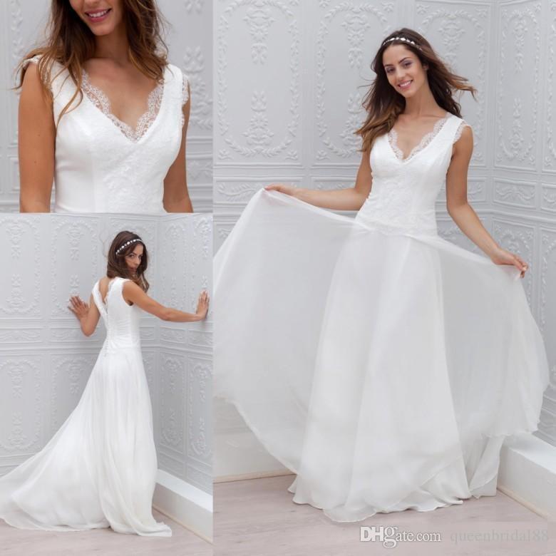 Discount Simple V Neck Lace Wedding Dresses Cheap Zipper Back Long ...