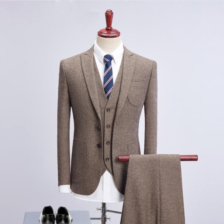 size 40 b4d56 77a71 sweat suit nuovo stile Uomini giacca monopetto di lana abiti da Uomo Slim  Fit affari wedding Vestito da uomo abiti classici full size M-4XL