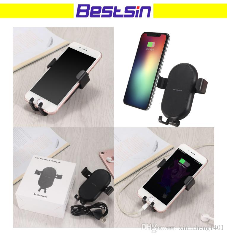 quality design 52452 66409 T8 For iphone X Gravity Car Mount Qi Fast Wireless Charger Phone Holder Air  Vent Holder Wireless Car Charger For Samsung S7 S8