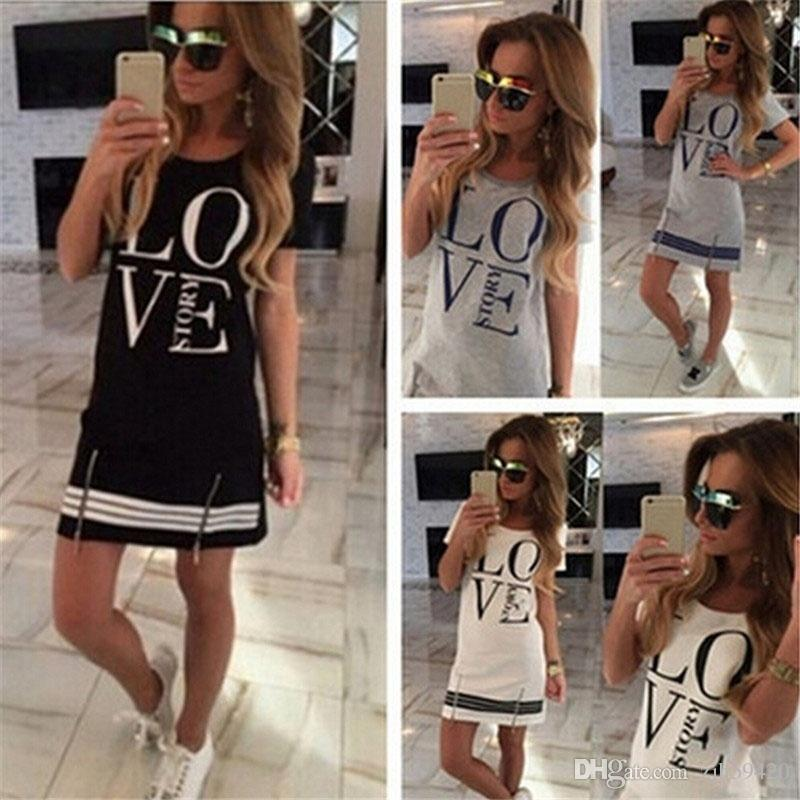 European and American fashion sports style women's printed letters LOVE printed long T-shirt one-piece casual dress zipper