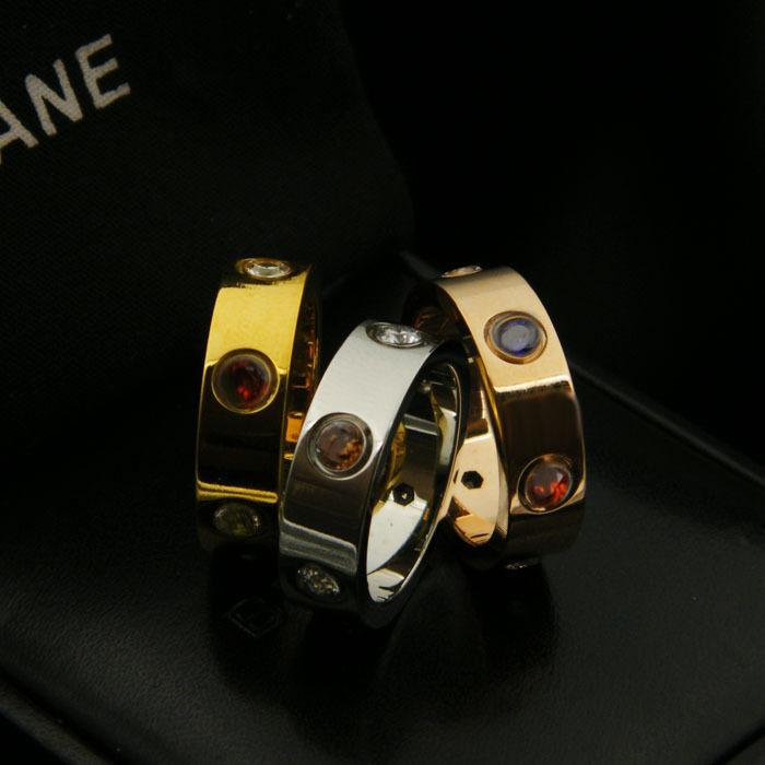 Hot titanium steel rose gold Beautiful color diamond multicolor couple ring Inner six hole advanced design wedding ring