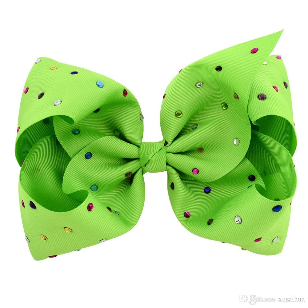 8 Inch Jojo arco Hot vender feitos à mão bowknot com ornamentos coloridos broca barrette criança crianças de cabelo 12 cores