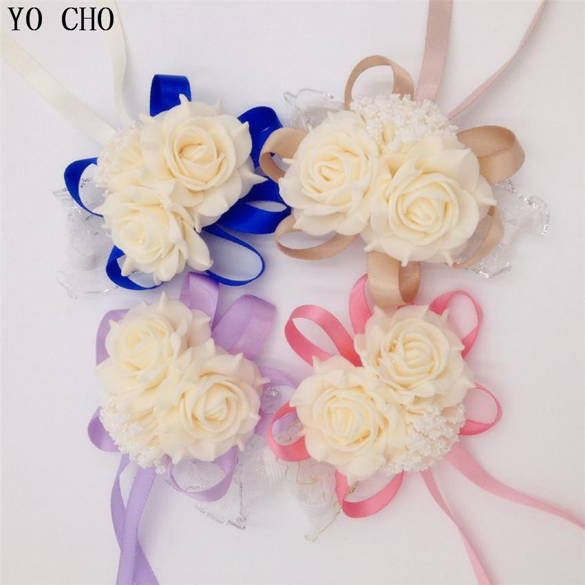 10 Pcs /Lot Wrist Corsage Bridesmaid Sisters Hand Flowers Artificial Bride Flowers For Wedding Party Decoration