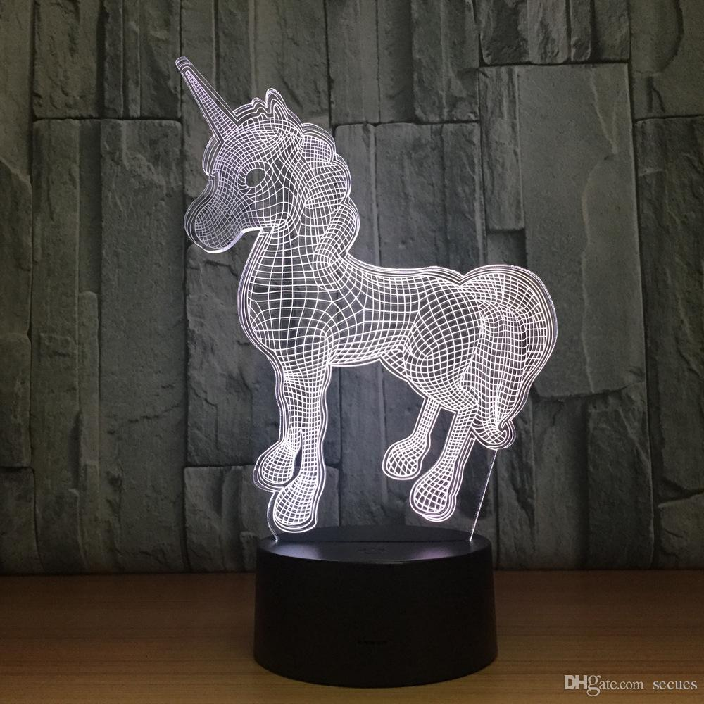 Unicorn 3D Optical Illusion Lamp Night Light DC 5V USB Charging 5th Battery Wholesale Dropshipping