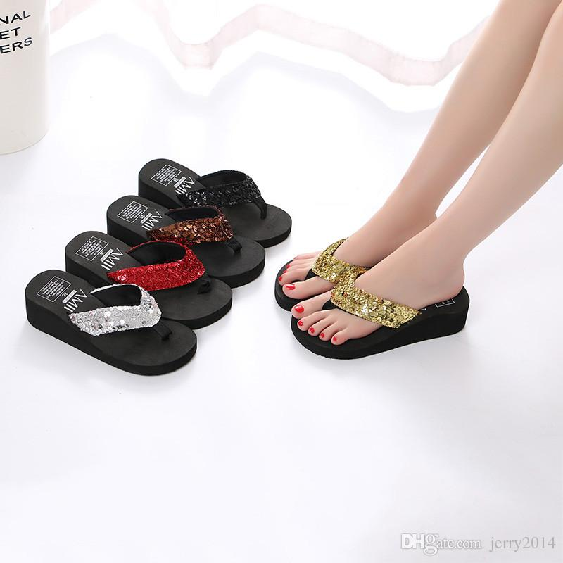 cd280b31aeac Wholesale New Beach Shoes Summer Fashion Sequins Thick-soled Slipper ...