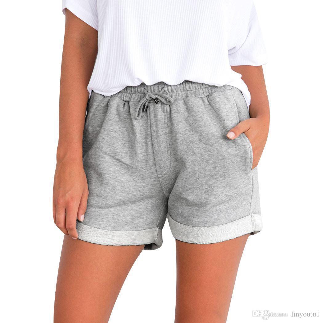 Dames Noir Coton Été D Rose Haute Lacets Avec 2018 Chaud Femmes Cordon Jaune Taille Vacances Shorts Poche Décontractées Short nPOXwk80