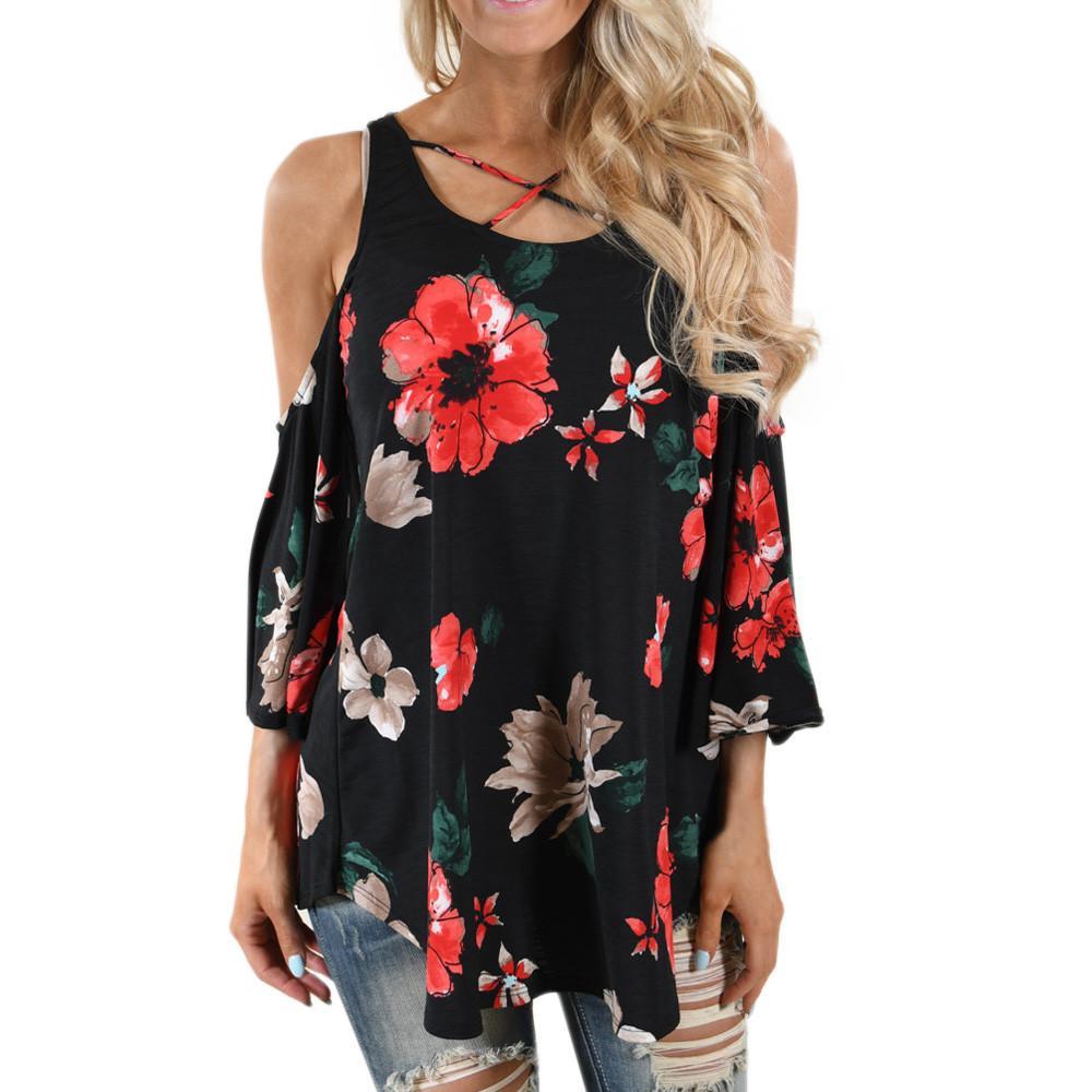 0064a3026e0153 Women Floral Print T-Shirt Three Quarter Sleeve Off Shoulder Shirts ...