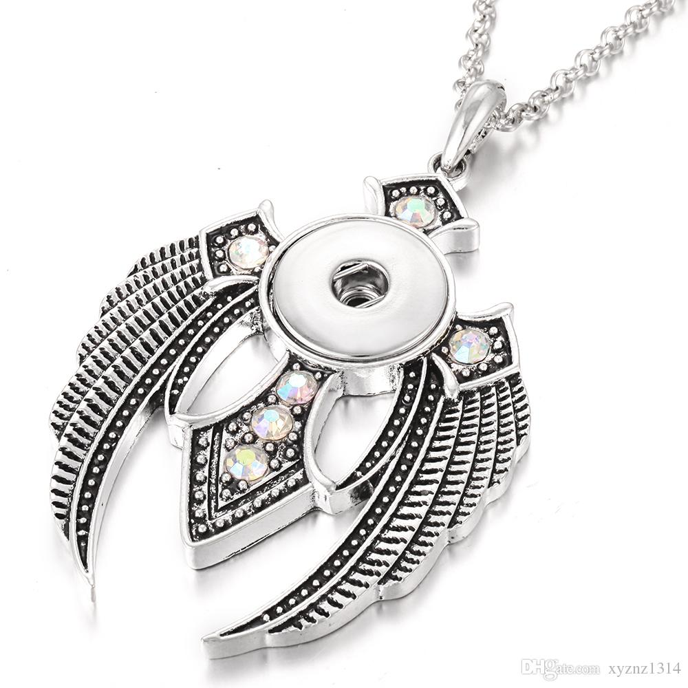 New Snap Button Necklace Jewelry Noosa Chunk Vintage Silver Cross Angel Wings Pendant Necklace for Men Women Gifts