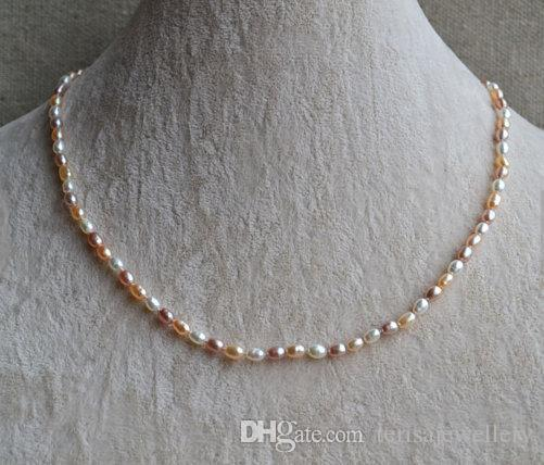 2019 Small Pearl Jewellery 18inches 3 5x5mm White Pink