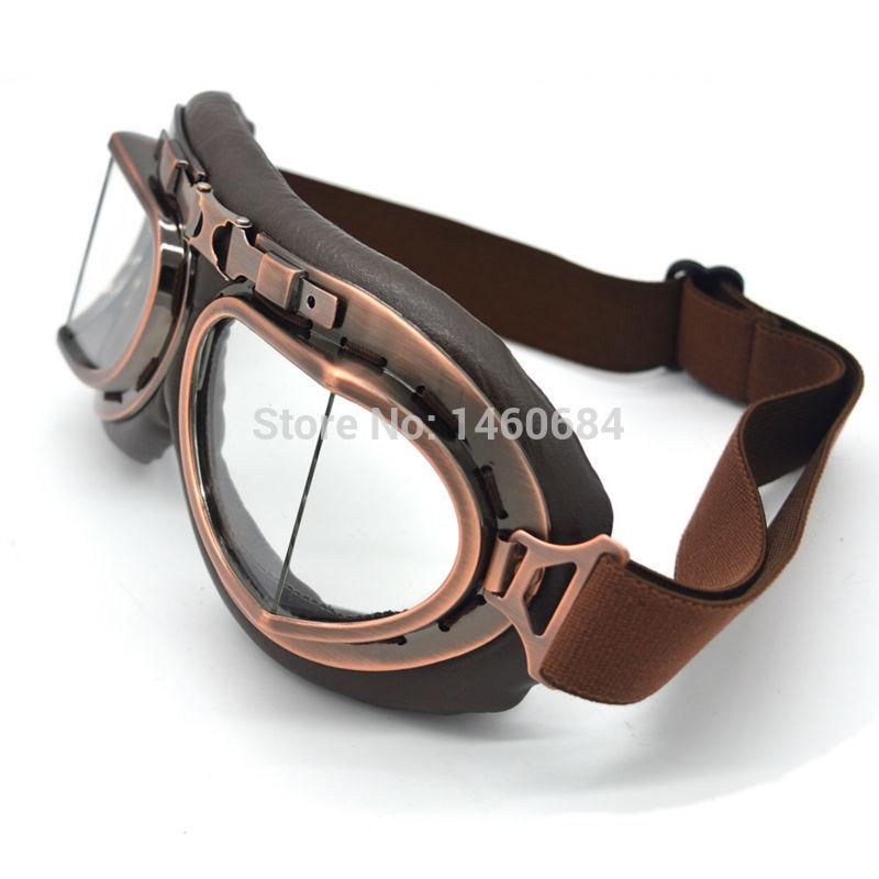 New Vintage Leather Motorcycle Goggles Pilot Motorbike Retro Jet Helmet Eyewear Glasses