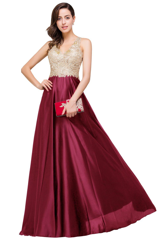 Vestido de festa sexy backless kant kralen lange avondjurk een lijn v-hals satijn prom jurken gewaad de soiree cps358