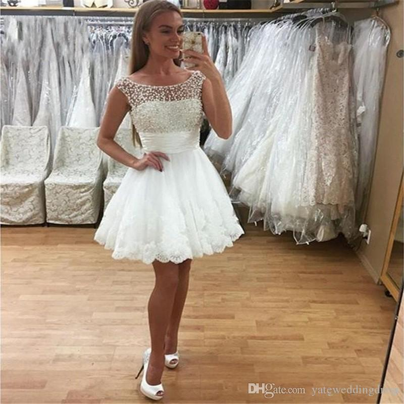 2018 White Short Homecoming Dresses Jewel Sleeveless Prom Gowns Back ...