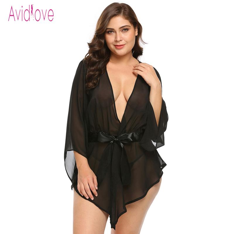 Avidlove Plus Size Transparent Lace Robe Women Babydoll Lingerie Sexy Hot  Erotic Sex Costumes Kimono Bathrobe Dressing Gown Y18102206 Sexy Winter  Pyjamas ... 85ccc3fb2