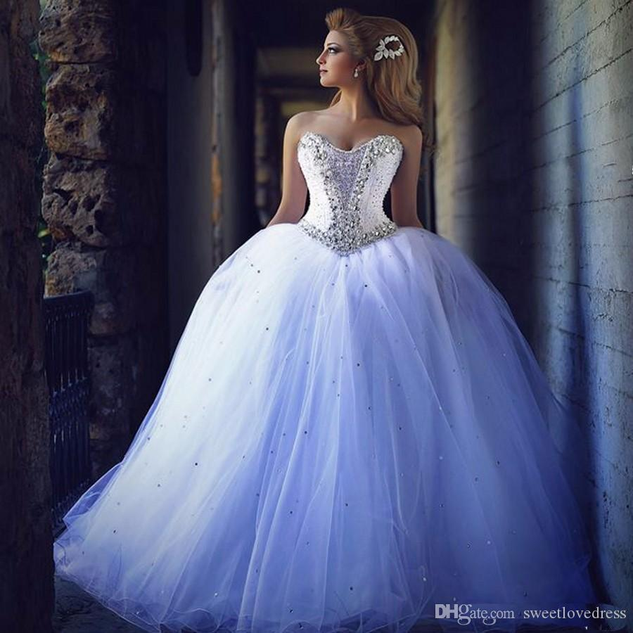 Beaded Cheap Organza Beach Wedding Dresses China Ball Gown: 2017 Luxury Crystal Beaded Sweetheart Bridal Gowns