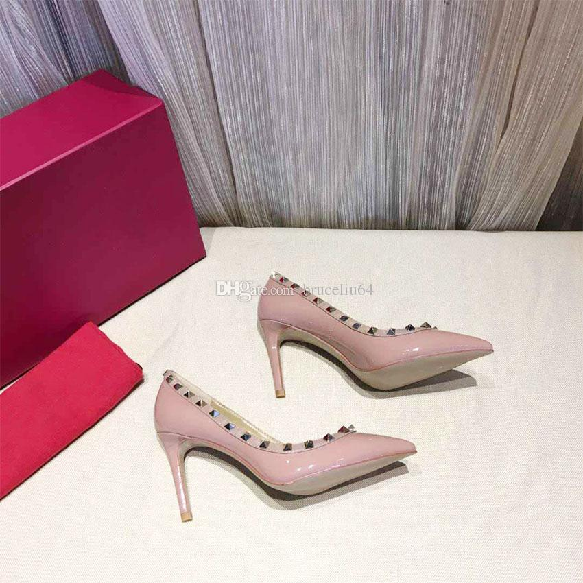 Hot Sale Classic Women High Heels Dress Shoe Party Fashion Rivets Girls Sexy  Pointed Toe Shoes Buckle Platform Pumps Wedding Shoes Pink 8cm Strappy Heels  ... 15d0d819a8e2