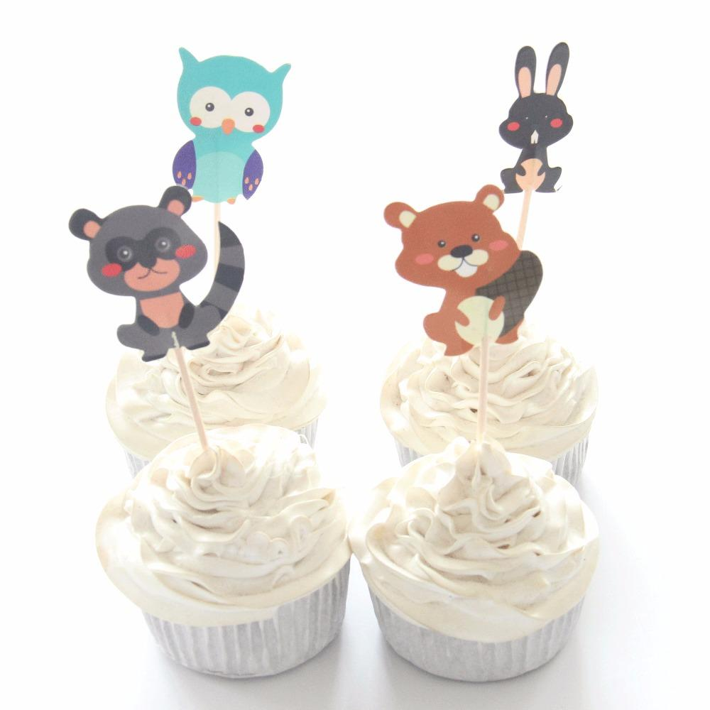 Owl/Rabbit/Bear Cupcake Topper Cartoon Party Supplies Kids Boy Birthday Party Decorations Cake topper Picks