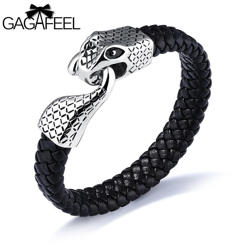 812dcb10df1f GAGAFEEL Pulsera de cabeza de serpiente joyería de plata de los hombres  Joyería de pulsera de cuero corriente de acero inoxidable de la  personalidad Punky ...