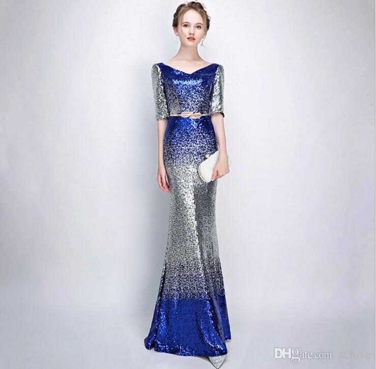 Kollu Uzun Abiye Giyim 2020 V Yaka Seksi Örgün Parti Elbise Ucuz Yeni Geliş ile Nefis Pullarda Denizkızı Gelinlik