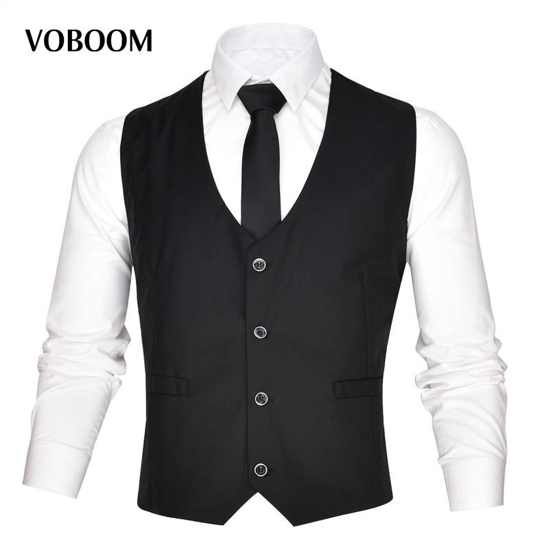dda1642d37 Compre VOBOOM Mens Coletes De Negócios Terno Sem Mangas Colete Masculino  Para Vestidos De Casamento Clássico Colete Masculino Social Blazer 003 De  ...
