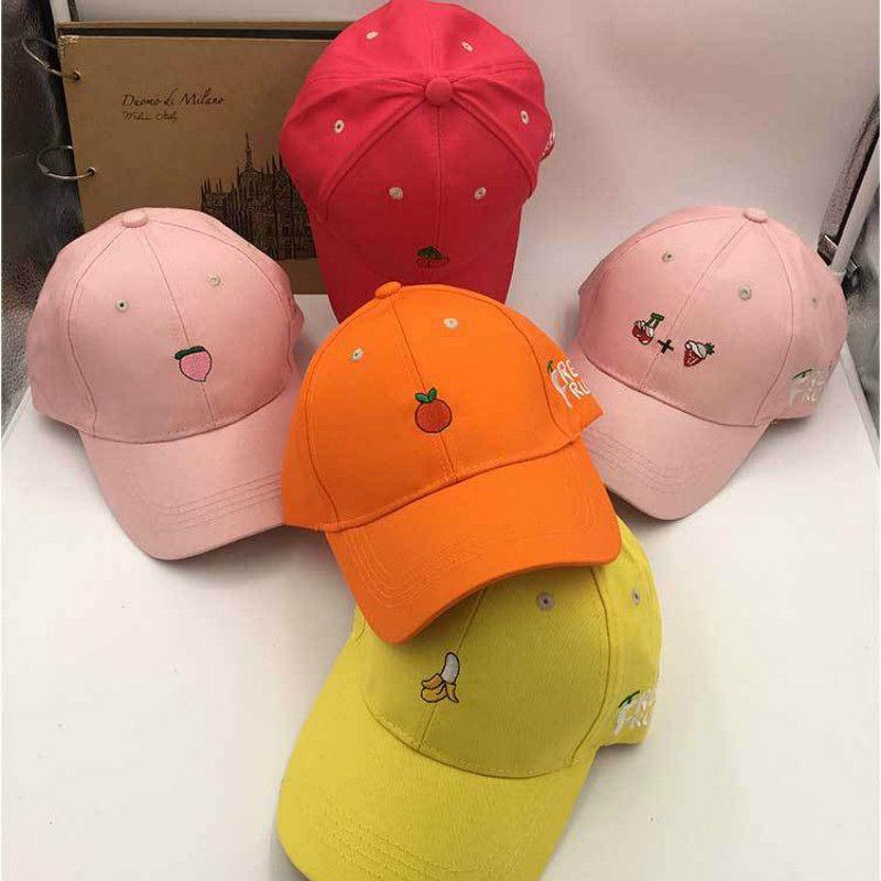 b11320f2c 2018 Women New Arrival Spring Leisure Fresh Fruit Embroidery Hat Strawberry  Banana Cherry Orange Peach Baseball Cap