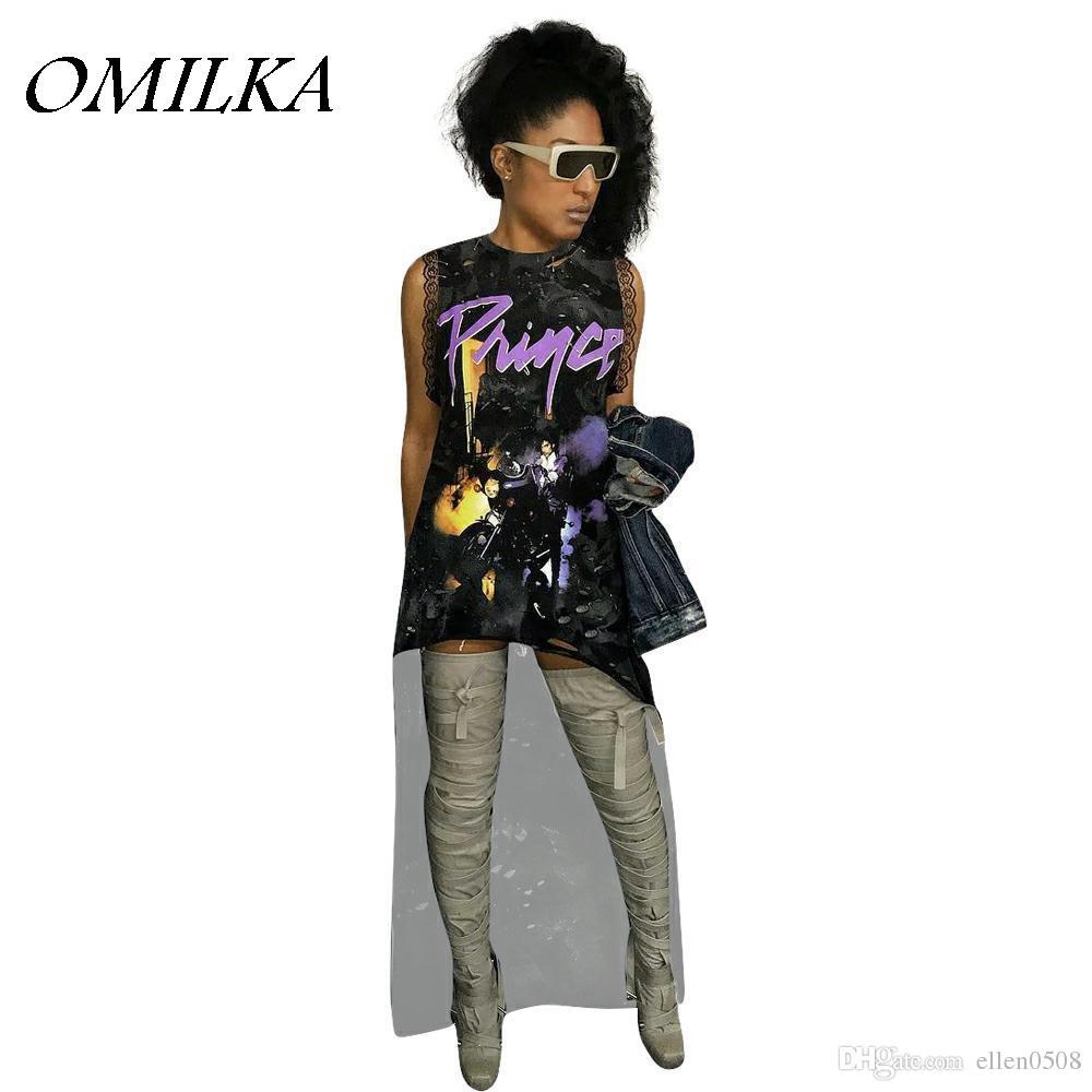 Chique Kersttrui.Omilka 2018 Summer Women Sleeveless O Neck Letter Print Punk Rock T
