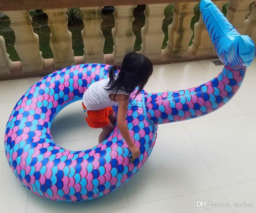 El último flotador de la cola de la sirena flota grande al aire libre flotadores de la piscina flotadores de la piscina Sirena inflable flotante anillo de natación 180 cm WX9-671