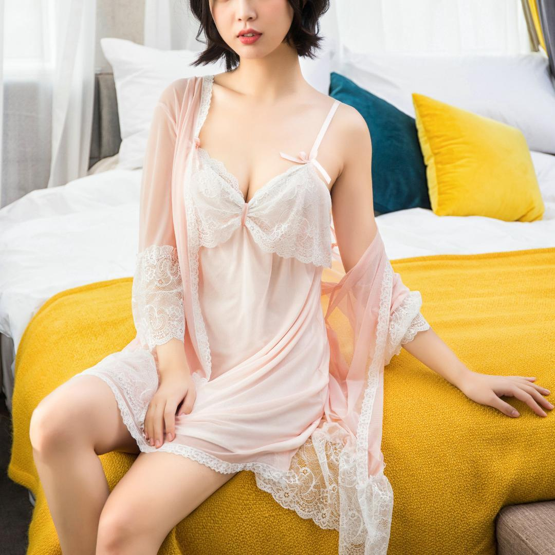 6aa85d851c 2019 ZOOLIM Women Robes Gown Sets Sexy Lace Knitted Sleepwear Princess Nightwear  Silk Night Skirts Sleep Lounge With Chest Pads From Caicloth