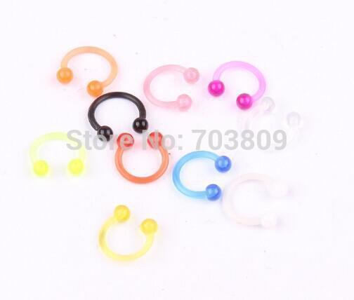 Wholesale Uv Nose Bar 100pcs Lot Body Piercing Jewelry Nose Ring Bcr Ring Uv Bioflex Jewelry