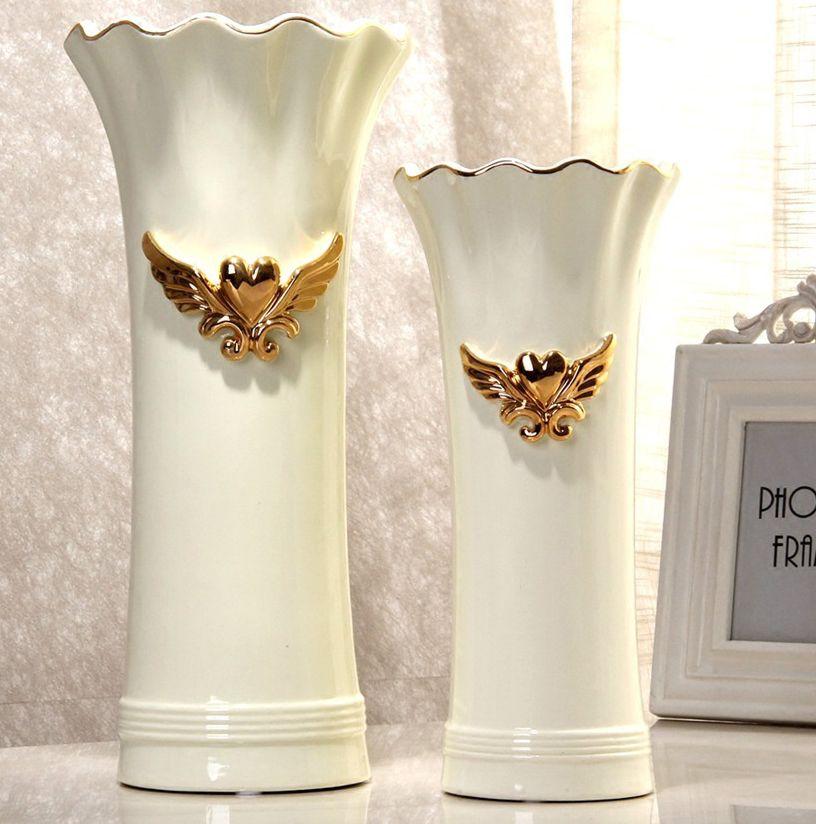 Europe Ceramic Creative Angel Heart Flowers Vase Pot Home Decor