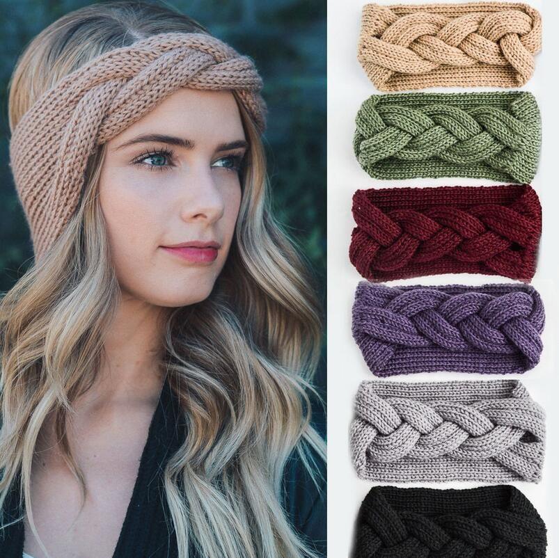 Großhandel Solide Breite Strick Woolen Stirnband Mode Herbst Winter ...