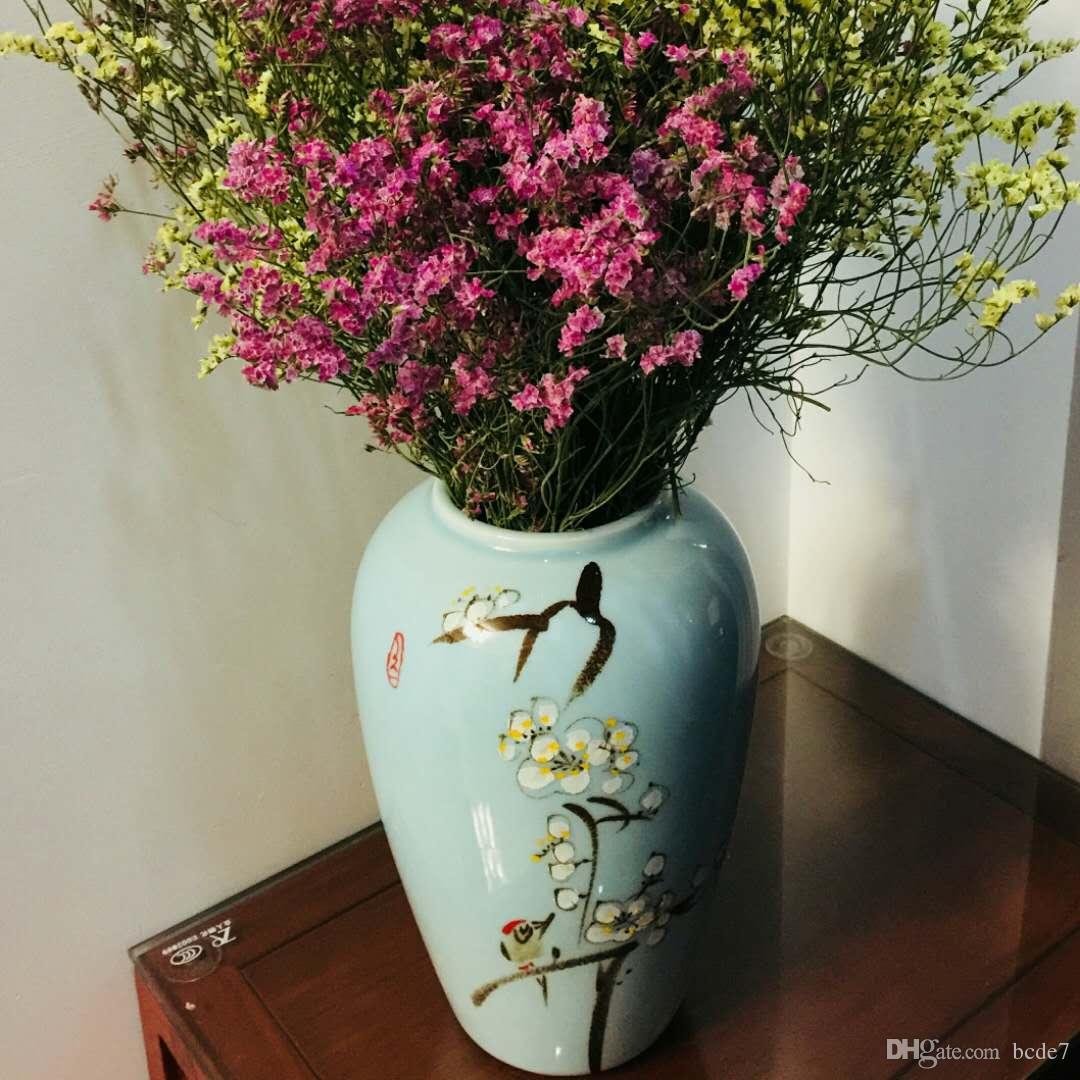 Satın Al çin Seramik Vazo El Yapımı Boyama Zanaat Vazo Yapmak Chian